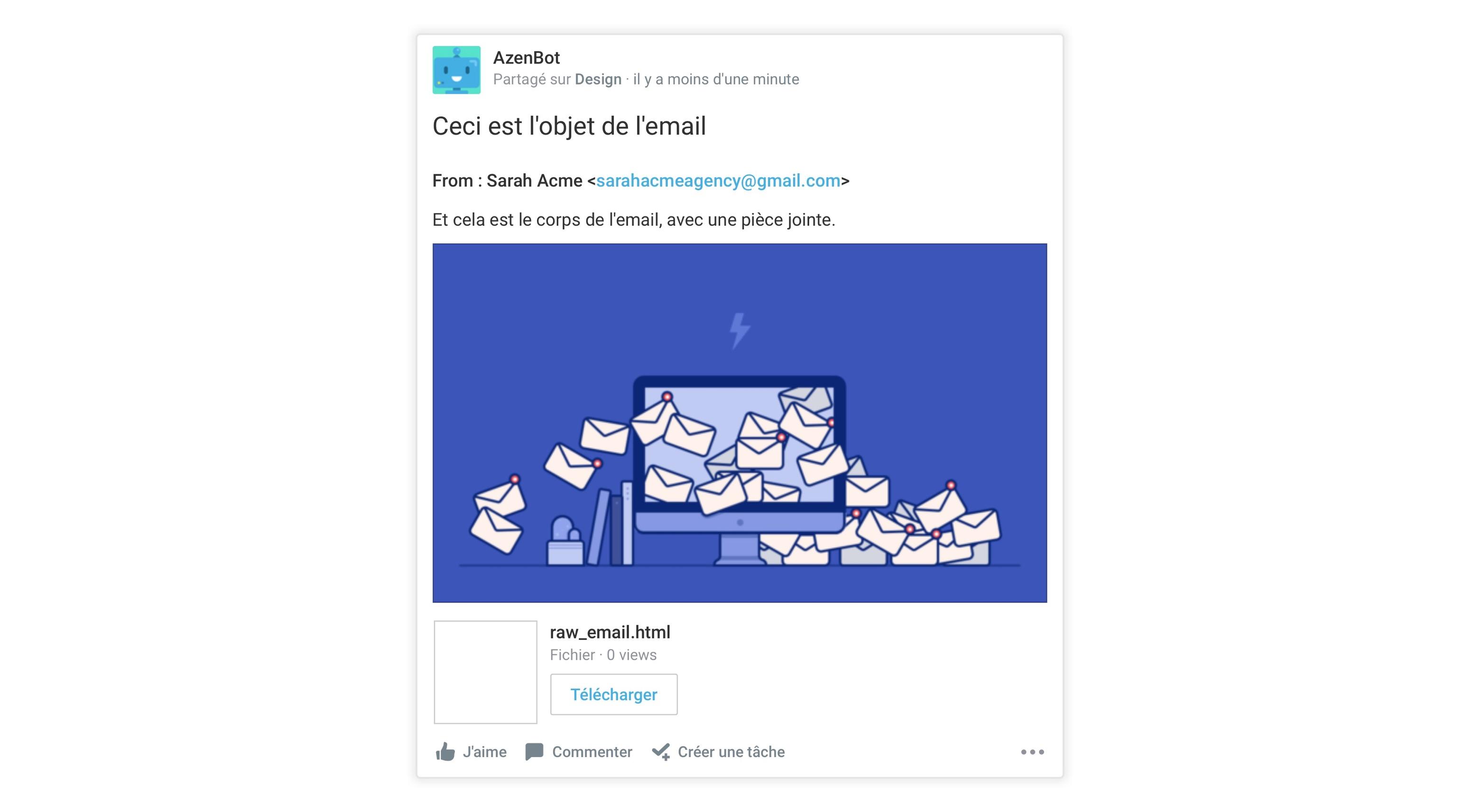 Les conversations créées par l'email du sujet sont postées par AzenBot