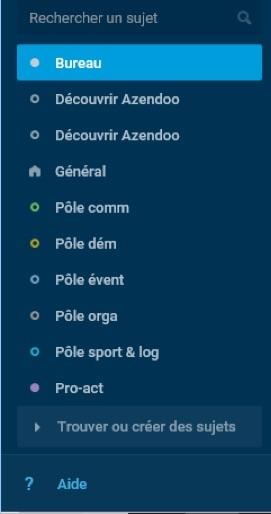 les pôles sont répartis en sujets