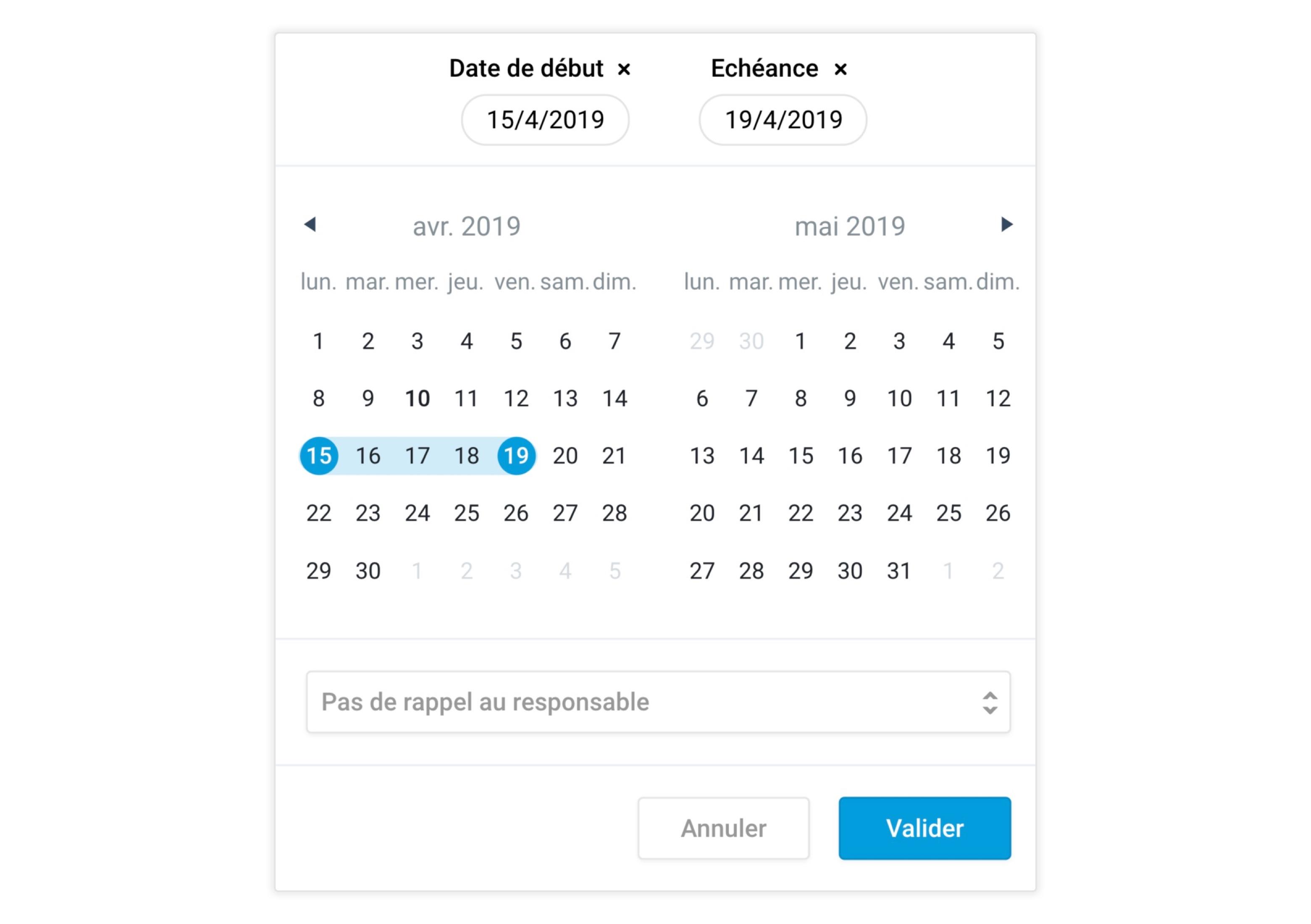 Le nouveau calendrier de sélection de dates